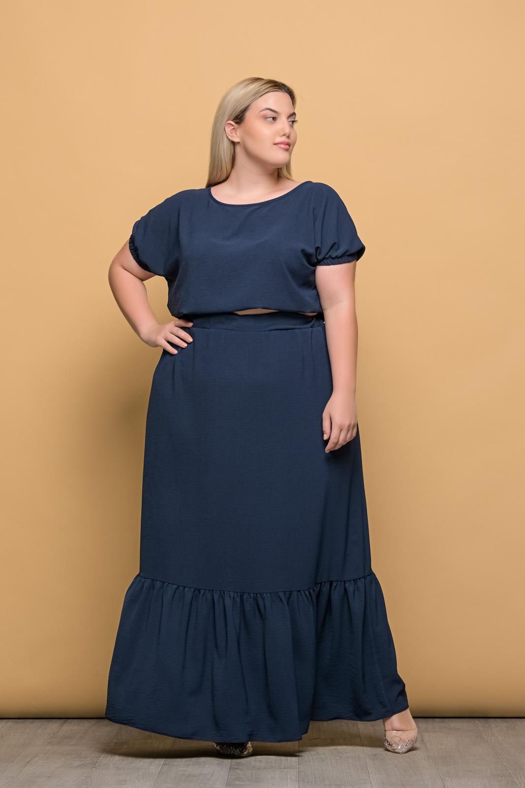 Φούστα μεγάλα μεγέθη maxi με φραμπαλά σε 2 χρώματα