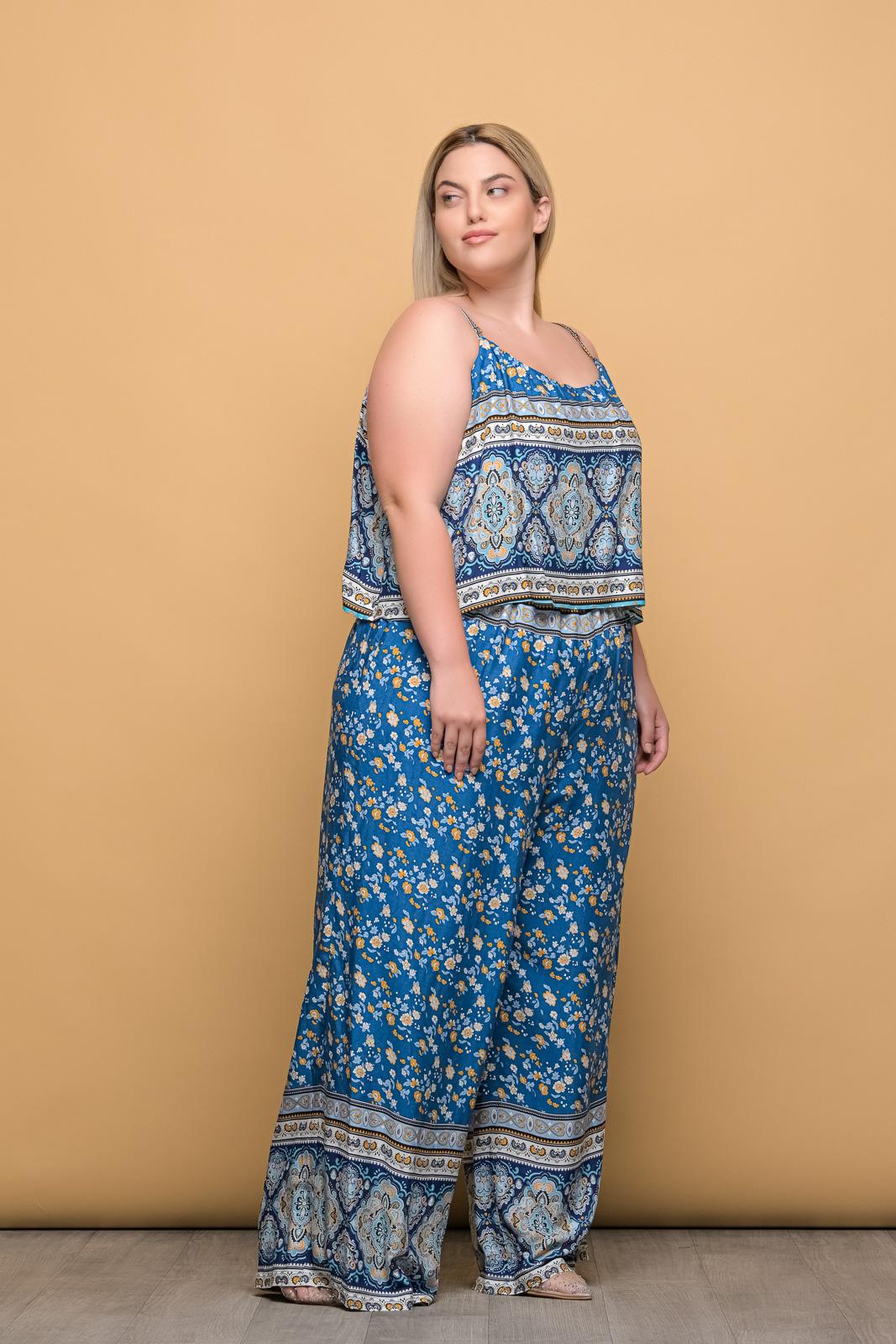 Ολόσωμη φόρμα floral/μπλε με φραμπαλά και τιράντες