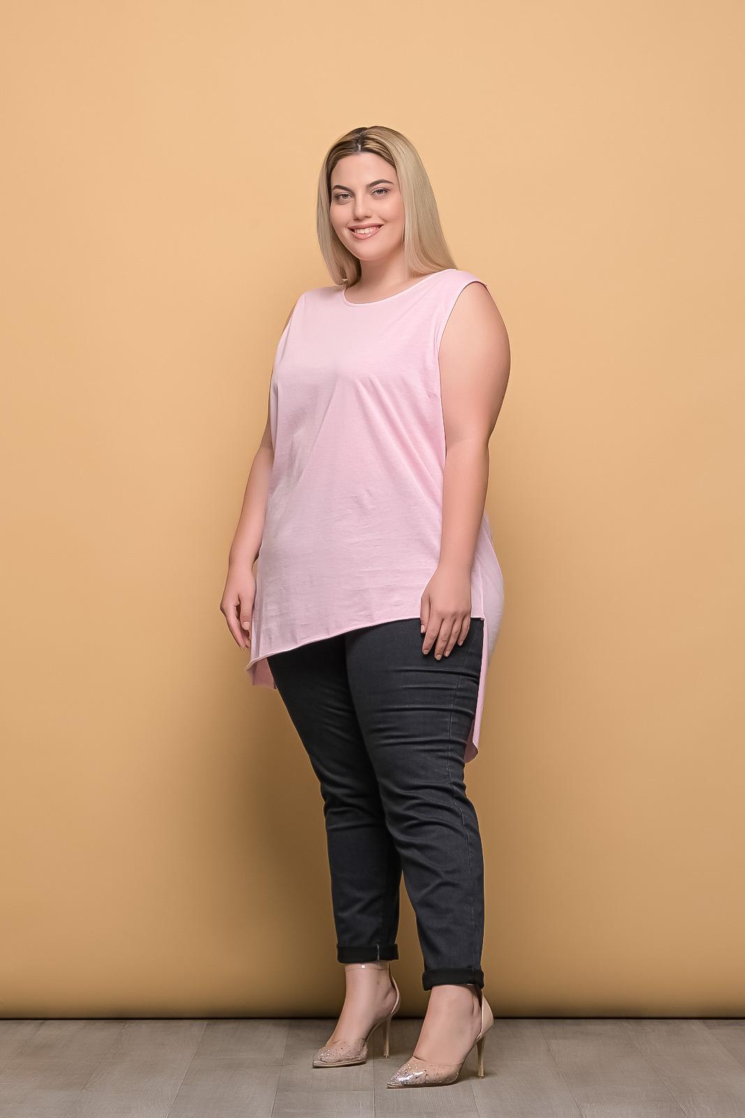 Μπλουζοφόρεμα αμάνικο βαμβακερό ροζ