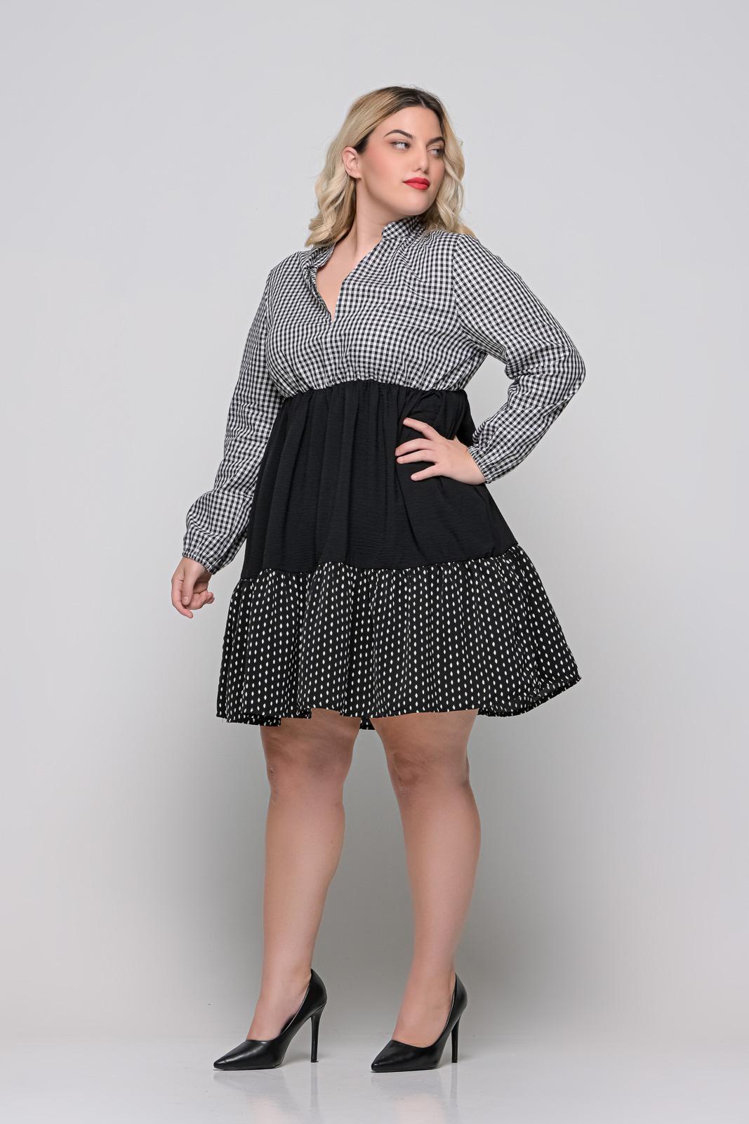 Φόρεμα μεγάλα μεγέθη εμπριμέ με λάστιχο