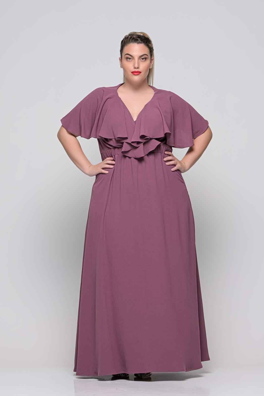Φόρεμα μεγάλα μεγέθη κρουαζέ μελιτζανί