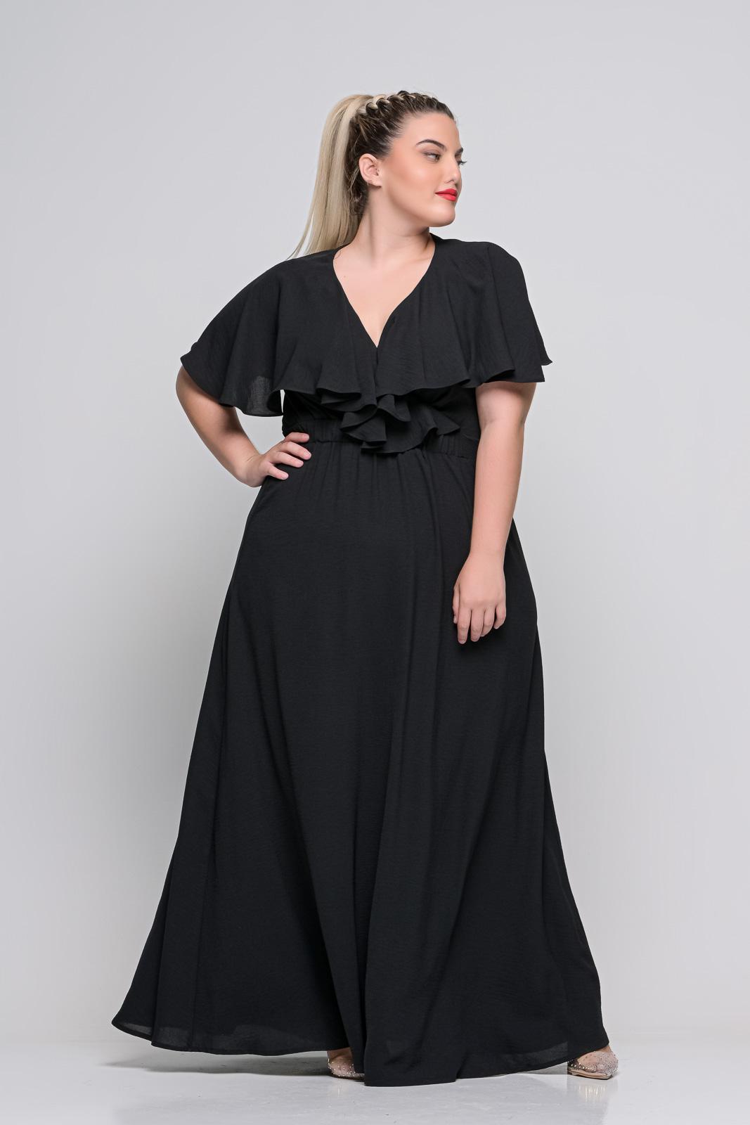 Φόρεμα μεγάλα μεγέθη κρουαζέ μαύρο