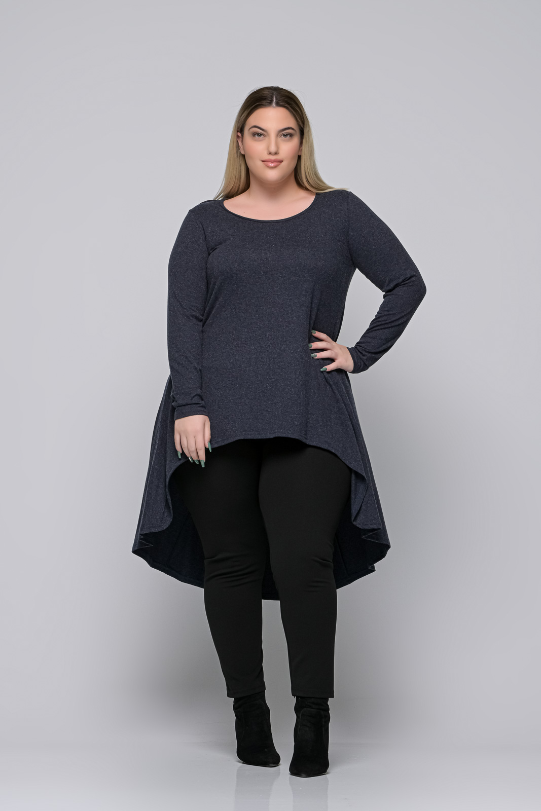 Μπλούζoφόρεμα μεγάλα μεγέθη +Psx γκρι μπλε ελαστική βισκόζ. Στο eshop μας θα βρείτε οικονομικά γυναίκεια ρούχα σε μεγάλα μεγέθη και υπερμεγέθη.