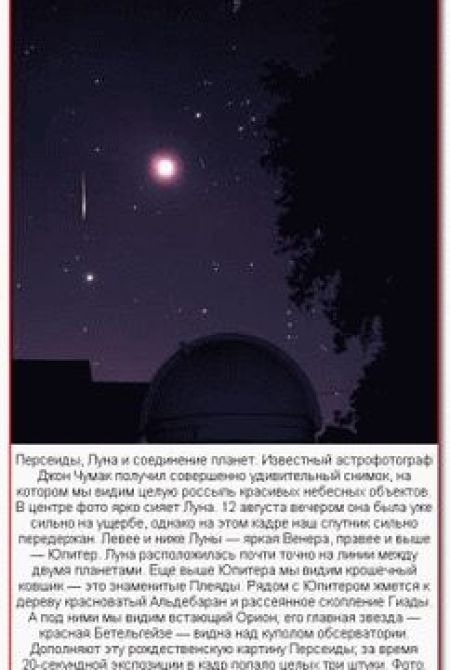 Звездыей дождь Персеиды, Луна и соединение планет