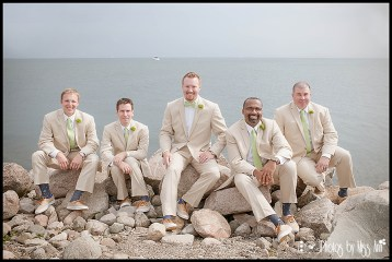 Groom and Groomsmen Wedding Photos by the Water Michigan Wedding Photographer Photos by Miss Ann