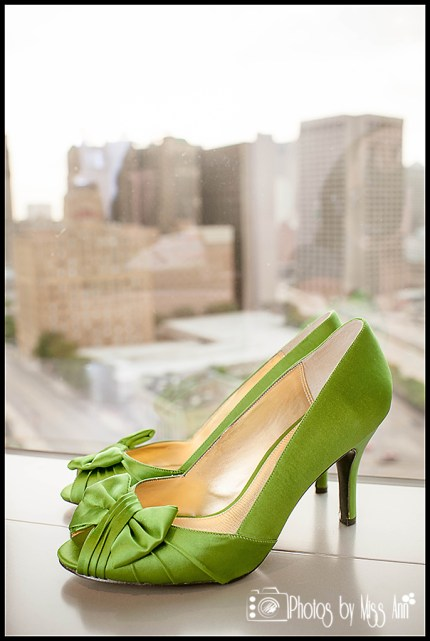 MGM Grand Detroit Wedding Photos Emerald Green Bridal Shoes