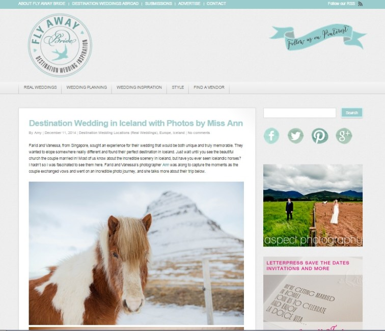 Iceland Destination Wedding Photographer Featured on Fly Away Bride