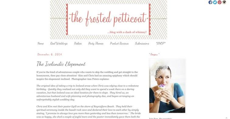 Iceland Wedding Photographer Published on Frosted Petticoat Blog