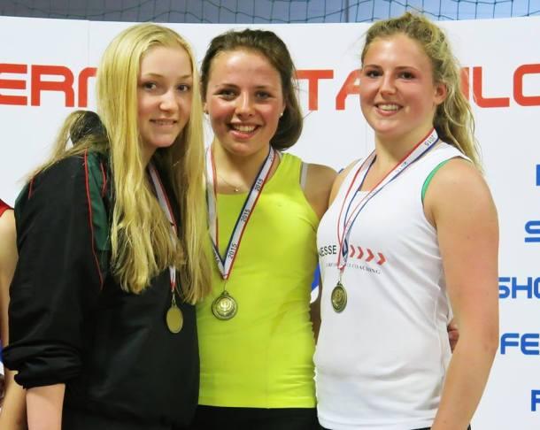 Plymouth College Under-19  girls' team  (L-R) Veronika Procher, Eimear O'Neill, Kerenza Bryson