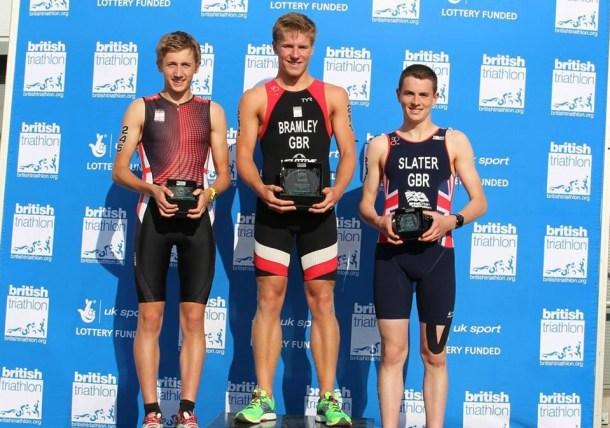 Travis Bramley (centre) on top of the podium at the British Triathlon Festival