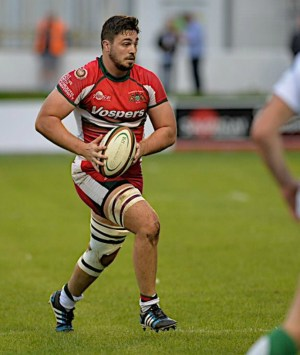 David Fisher in action against Newton Abbot when he damaged his knee (picture by Mark Andrews)