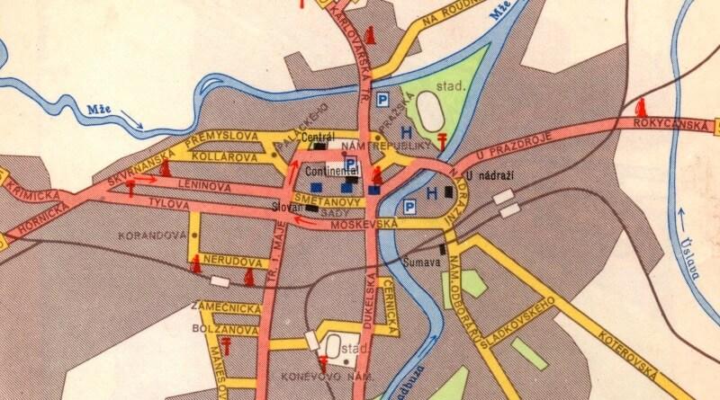 mapa plzě za komunistů