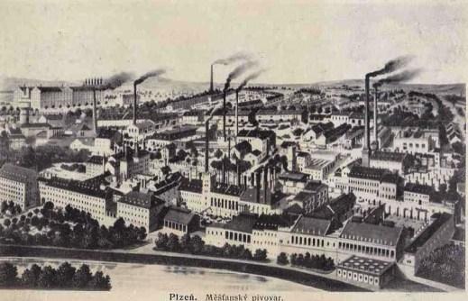 Historický pohled plzeňského pivovaru. Zdroj: sbírka autora