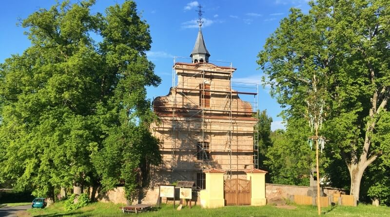 Opravovaný kostel sv. Jana Křtitele
