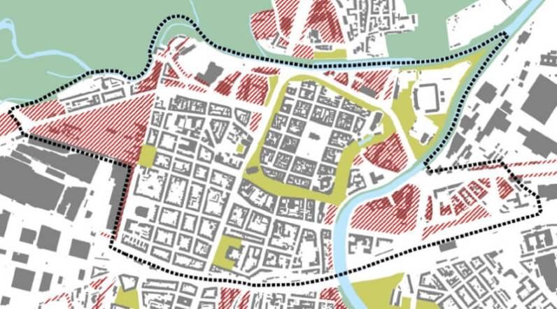 Vymezení území centrální oblasti města, Zdroj: ÚKRMP