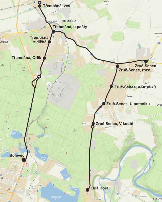 Mapa nové linky 58