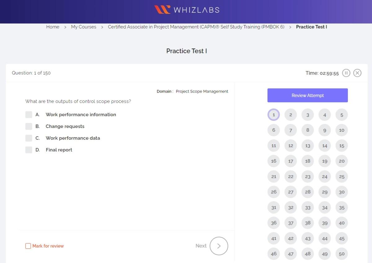 Whiz Labs CAPM Exam Simulator