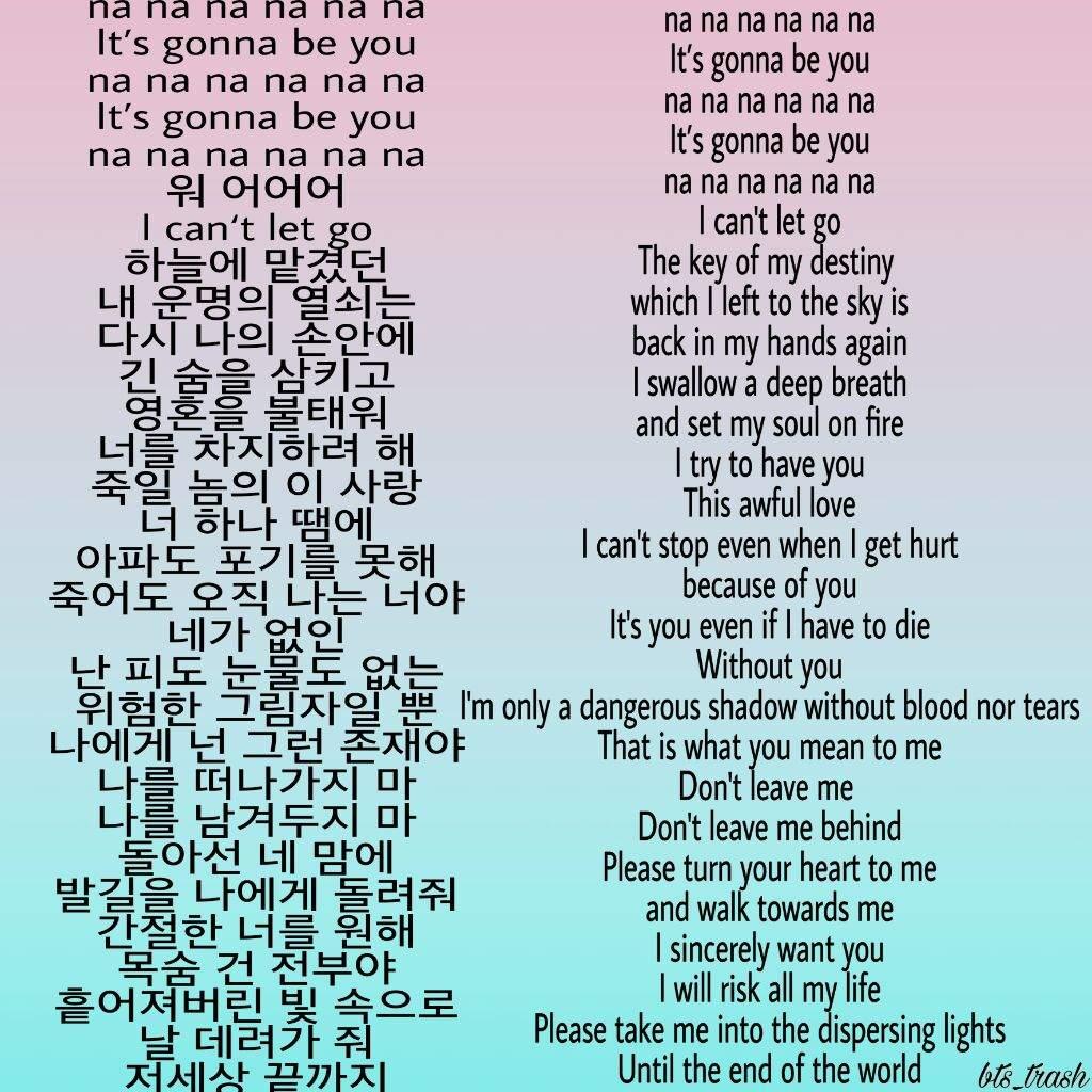 Even If I Die It S You Lyrics Hangul Translation Army S Amino