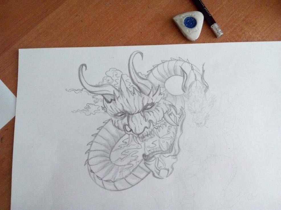 эскиз аниме скетч рисунок тату дракони китай культура змей