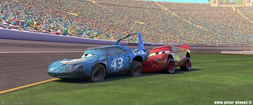 Image result for lightning mcqueen pushing the king