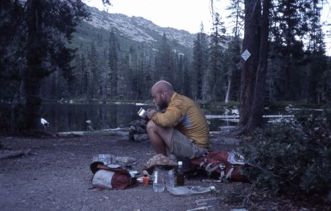 Dinner by a lake on the Pacific Crest Trail
