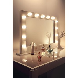 Miroir De Maquillage Hollywood Brillant Blanc Lampes Led