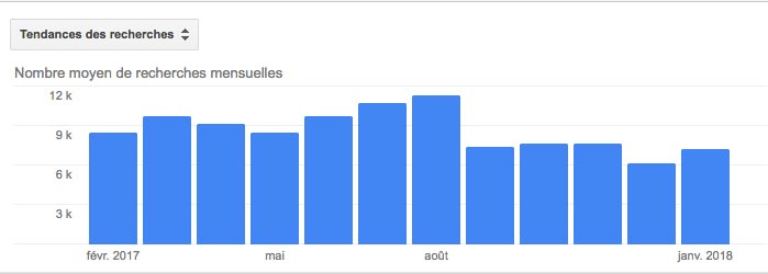 AdWords, nombre recherche mensuelle