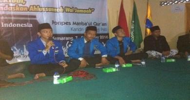 Ketua PMIII Komisariat Walisongo Semarang, Umar Said Burhanudin memberi sambutan pada pembukaan Masa Penerimaan Anggota (MAPABA) PMII Rayon Syariah bertempat di Pondok Pesantren Mambaul Quran, Kandri-Gunung Pati, Jumat, (09/10/2016)