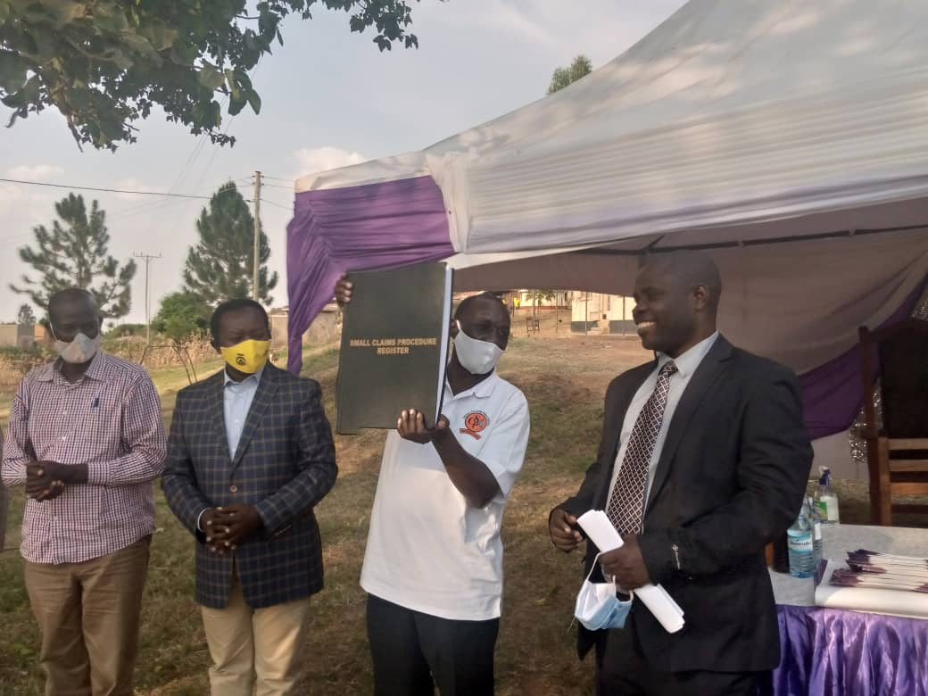 SCP launch in Sanga with aspiring MP for Nyabushozi county, Mr. Kajwengye Wilson, 2nd from the left