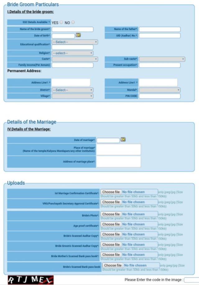 Application Form Kalyana Lakshmi Scheme