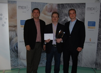 Juha Christensen, Chairman and CEO of Cloudmade (Judge); Nigel Waller, CEO of Movirtu (Winner); Marek Pawlowski, Founder of MEX (Organiser & Host)