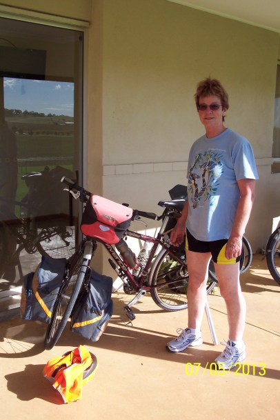 Pamela at Clare Race Course May 7th 2013. Changed into bike shorts and ready to go.