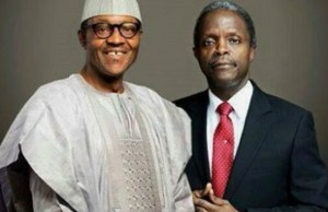 ...President Buhari and his Vice, Prof Osinbajo, right...