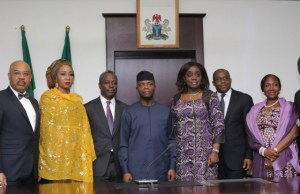 …Acting President Yemi Osinbajo, fourth from right, Minister of Finance, Mrs. Kemi Adeosun, NSIA Chairman, Mr Jide Zeithin and NSIA MD/CEO, Uche Orji and others after the inauguration exercise…