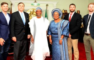 Governor of Osun, Ogbeni Rauf Aregbesola (3rd left ), his Deputy, Mrs. Titi Laoye-Tomori (3rd right), Ambassador of United State of America, Stuart Symington (2nd left), Ambassador Son, Mr. William Stuart Symington (left), Regional Security Adviser, Mr. Chip Cury (2nd right), and Consular Adviser, Mr. Peter Hansen (right), during the visit…