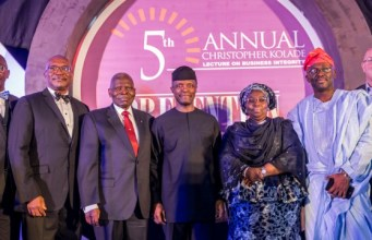 Acting President Yemi Osinbajo, SAN, with Dr Christopher Kolade (L); Deputy Governor of Lagos State, Dr. Idiat Oluranti Adebule (R), flanked by other speakers after the lecture…