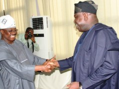Oyo State Governor, Senator Abiola Ajimobi, left, welcoming Mr. Akinwumi Ambode to the capital of the South West…