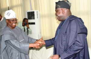 Oyo State Governor, Senator Abiola Ajimobi, left, welcoming Mr. Akinwumi Ambode to the capital of the South West…