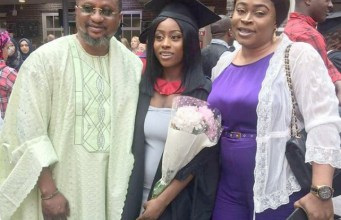 The Law graduate, Dorcas with her proud parents, Dele and Bukola Taiwo…the Dad wrote on his Facebook page that 'Praise the Lord with me, I feel blessed'…