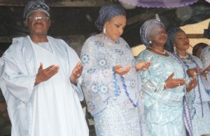 L-R: Oyo State Governor, Senator Abiola Ajimobi; his wife, Florence; and sisters, Alhaja Bisi-Jare Alade and Alhaja Salimat Adio, during the fifth anniversary of the death of the governor's mother, Alhaja Dhkirat Ajimobi, at the Government House, Agodi, Ibadan... on Tuesday