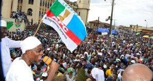 Governor of Osun State, Ogbeni Rauf Aregbesola, with the candidate of All Progressive Congress (APC), for the Osun West Senatorial By-Election, Senator Mudashir Husain, at the mega-rally held in Ejigbo on Monday…
