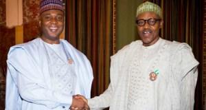 Senator Bukola Saraki, left, with President Muhammadu Buhari...earlier in the life of this administration...