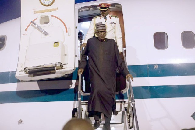 President Muhammadu Buhari steps out of the aircraft that brought him back to Nigeria...on Monday evening...