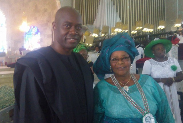 ...Engineer Seyi Makinde, with his ageless mother, Chief Mrs Abigail Makinde inside St Peter's Church, Aremo, Ibadan...