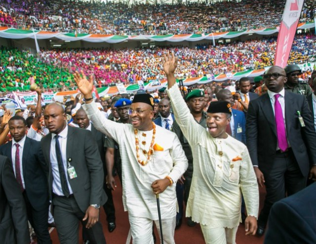 Vice President Yemi Osinbajo and Gov. Udom Emmanuel of Akwa Ibom arrive Akpabio Stadium for Grand Finale of Akwa Ibom…