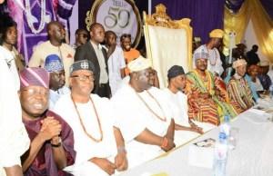 From the left: Senator Rilwan Adesoji Akanbi, The Ogunwusis, Gov Rauf Aregbesola and the Oluwo of Iwo...