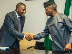 Professor Yemi Osinbajo, right, with Dr Aliko Dangote at the meeting…