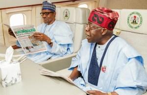 President Muhammadu Buhari, left, with Asiwaju Bola Tinubu in the Presidential Jet on their way to Abidjan on Tuesday...