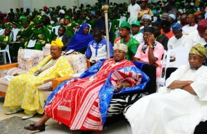 From left, The Ojomu of Osogboland, Chief Ewelayo Olalere; the Oluwo of Iwoland, Oba Abdulrasheed Adewale Akanbi; Governor State of Osun, Ogbeni Rauf Aregbesola and others, during the event on Sunday…