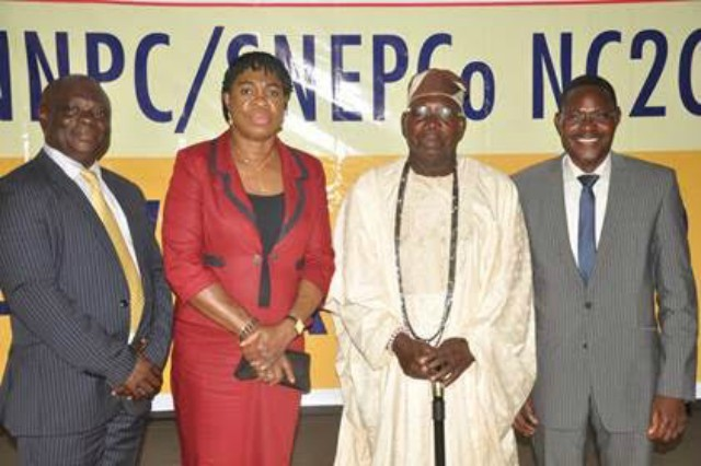 L– R: Principal Lead Forte Gate College, Lekki, Lagos, Kayode Oni; SNEPCo's Social Performance and Social Investment Manager, Gloria Udoh; traditional ruler of Awoyaya in Lekki, Chief Isiaka Babatunde Eletu; and SNEPCo's General Manager, Exploration, Dayo Adewuyi, at the NNPC/SNEPCo National Cradle-to-Career scholarship award ceremony in Lagos…recently…